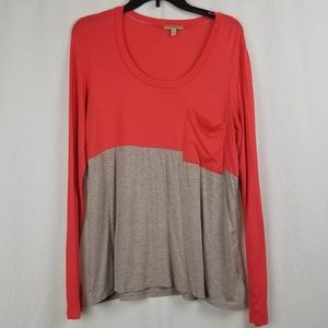 Anthropologie Tops - ANTROPOLOGIE BORDEAUX COLOR BLOCK TEE SHIRT TOP M.